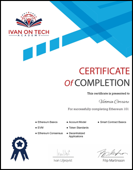 Ethereum 101 Certificate image